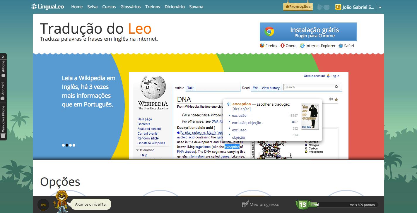 Extensões para navegadores do Leo